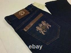 Umberto Bilancioni Jeans Gold Hardware Brown Leather Accents Size 38/33