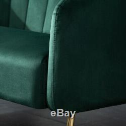 Upholstered Velvet Armchair Green Accent Tub Chair Sofa With Gold Plating Leg UK