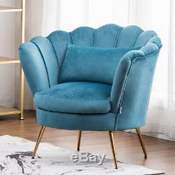 Upholstered Velvet Armchair Lotus Shape Accent Tub Chair With Gold Plating Legs