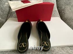 VALENTINO Roman Gold Rockstud Accents Mules Flat Shoes Black Leather 10-40 NEW