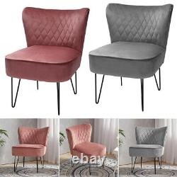 Velvet Fabric Scallop Back Chair Lounge Occasional Accent Sofa Armchair 5 Styles
