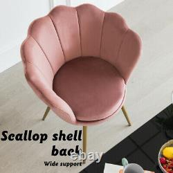 Velvet Tub Chair Petal Accent Dining Chair Lotus Armchair Shell Back Pink Seat