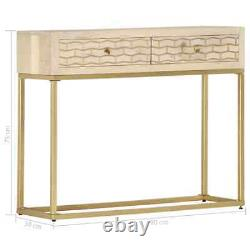 VidaXL Solid Mango Wood Console Table Gold 90cm Entryway Accent Display Stand