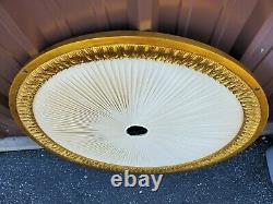 Vintage Front Gate Ceiling Medallion Cream Fabric Gold Ornate Accents 38 d