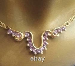 Vintage Handmade 14k Yellow Solid Gold Necklace Accents Amethyst 17.5 Long
