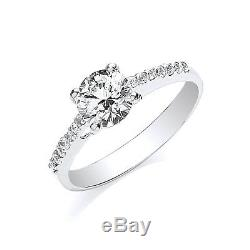 White Gold 1 Carat Solitaire Ring Shoulder Accents British Made Hallmarked