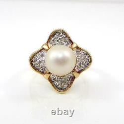 White Pearl 0.12ctw Diamond Accent Modernist 14K Yellow Gold Ring Size 4.5 LHI2
