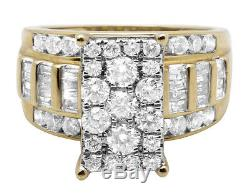 Women's 10K Yellow Gold Diamond Cluster Solitaire Ring Baguette Accents 2.0CT