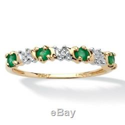 Womens 10k Gold Round Emerald And Diamond Accent Ring Size 5 6 7 8 9 10