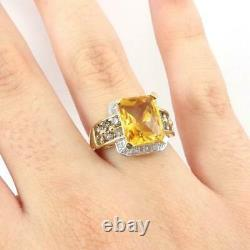 Yellow Citrine Diamond Accent Modernist 10K Yellow Gold Ring Size 8 LHI2