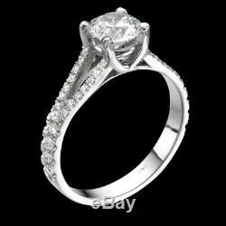 Yellow Gold Diamond Engagement Ring With Accents 1.6 Ct SI/F Brilliant Cut Round