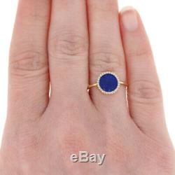 Yellow Gold Lapis Lazuli & Diamond Ring 14k Single Cut Accents Halo