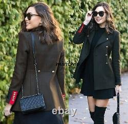 Zara Coat With Red Accents Military Khaki Green Gold Buttons Jacket Blazer S