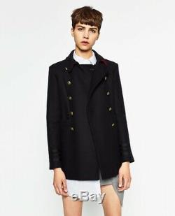 Zara Coat With Red Accents Military Navy Gold Buttons Jacket Blazer Large L
