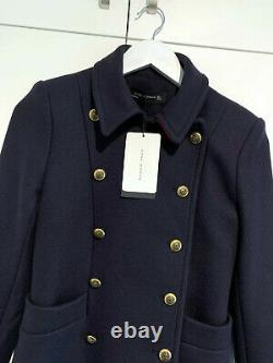 Zara Coat With Red Accents Military Navy Gold Buttons Jacket Blazer Xs