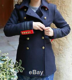 Zara Coat With Red Accents Military Navy Gold Buttons Jacket Lovely Blazer M
