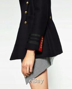 Zara Coat With Red Accents Military Navy Gold Buttons Jacket Lovely Blazer S